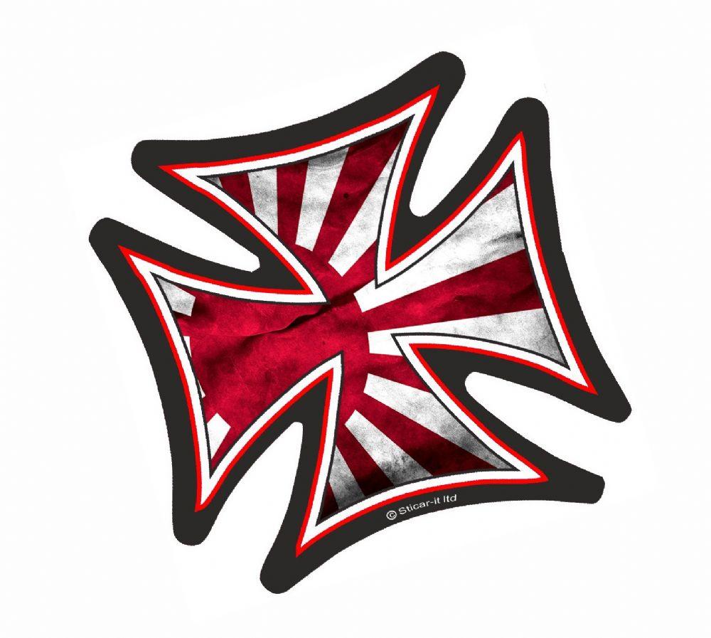 Iron Cross With Jdm Style Rising Sun Flag Motif External